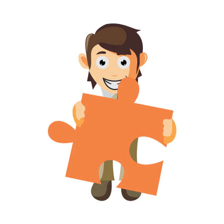 Business man Holding Puzzle Sign cartoon character Illustration design creation Isolated