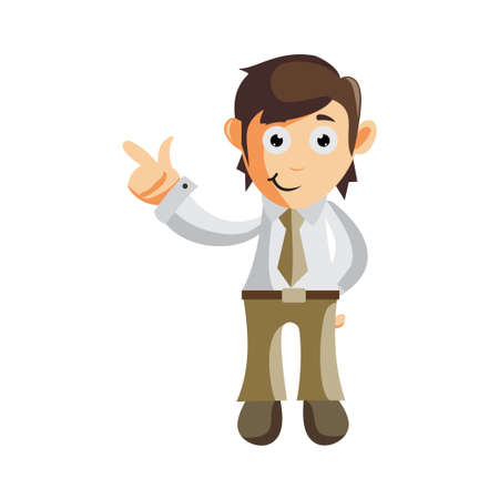 Business man Hand Pointing cartoon character Illustration design creation Isolated
