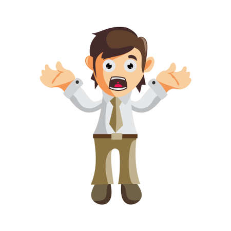 Business man Confused gesture cartoon character Illustration design creation Isolated Ilustracja