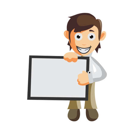 Business man with Blank Board cartoon character Illustration design creation Isolated