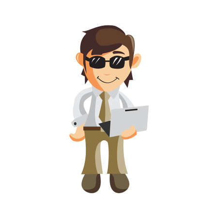 Business man cartoon character Illustration design creation Isolated