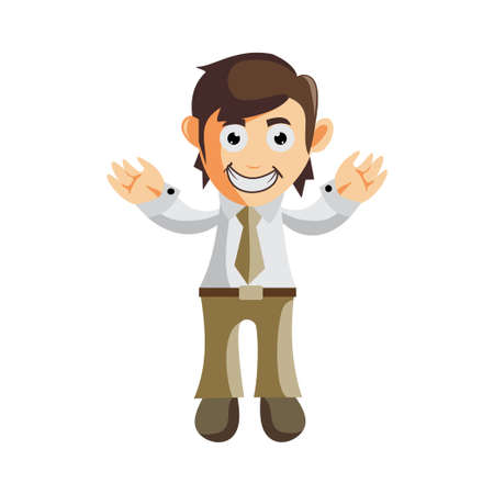 Business man Hand Welcome cartoon character Illustration design creation Isolated Ilustracja