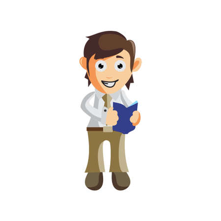 Business man Holding Book cartoon character Illustration design creation Isolated
