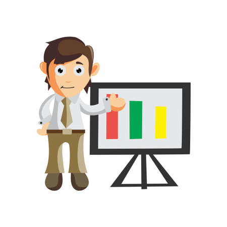 Business man Show Board table chart cartoon character Illustration design creation Isolated
