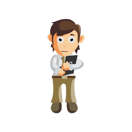 Business man Holding Phone Cellular cartoon character Illustration design creation Isolated Ilustracja