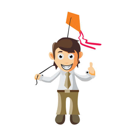 Business man playing kites cartoon character Illustration design creation Isolated