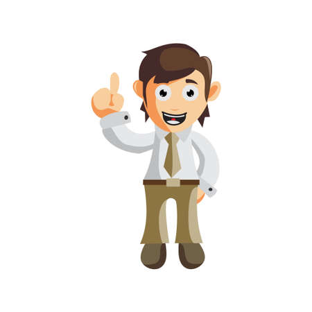 Business man Pointing Up cartoon character Illustration design creation Isolated