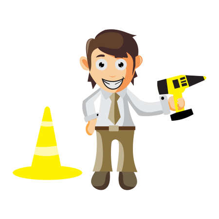 Business man Holding drill machine beside traffic cone cartoon character Illustration design creation Isolated