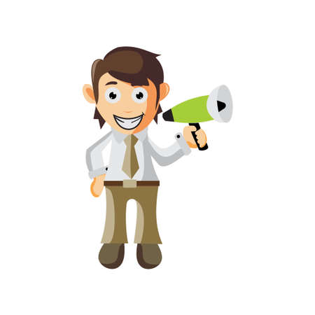 Business man Holding Megaphone cartoon character Illustration design creation Isolated