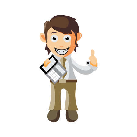 Business man Holding Calculator cartoon character Illustration design creation Isolated