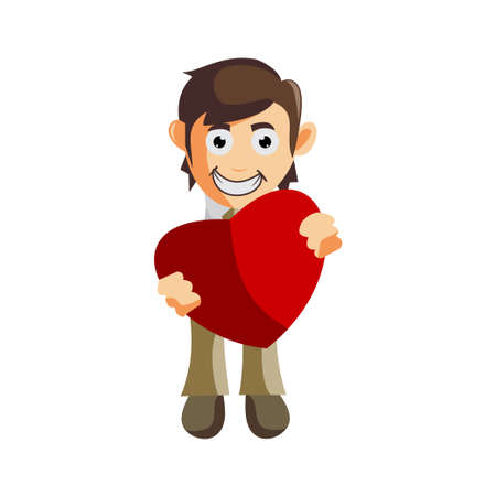 Business man Bring Love Symbol cartoon character Illustration design creation Isolated