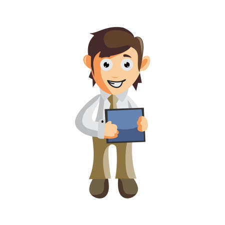 Business man Holding Phone tablet cartoon character Illustration design creation Isolated