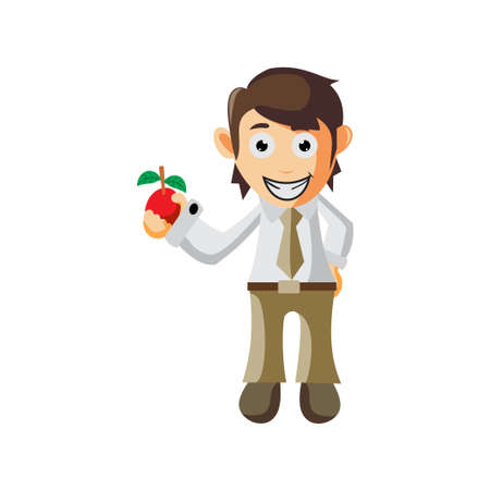Business man Holding Apple Fruit cartoon character Illustration design creation Isolated