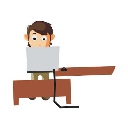 Business man Behind Computer cartoon character Illustration design creation Isolated Ilustracja
