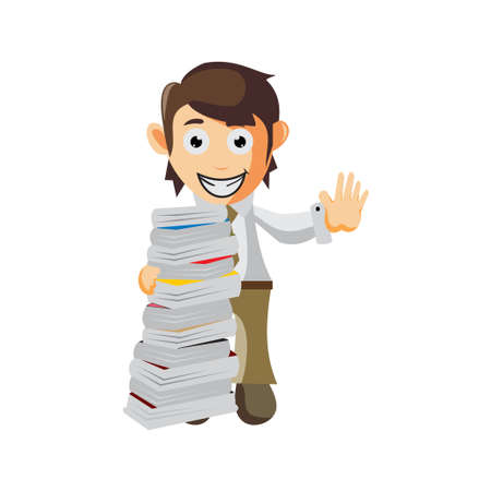 Business man behind a pile of books cartoon character Illustration design creation Isolated Ilustracja