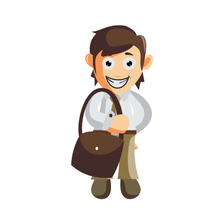 Business man Bring Bag cartoon character Illustration design creation Isolated Ilustracja