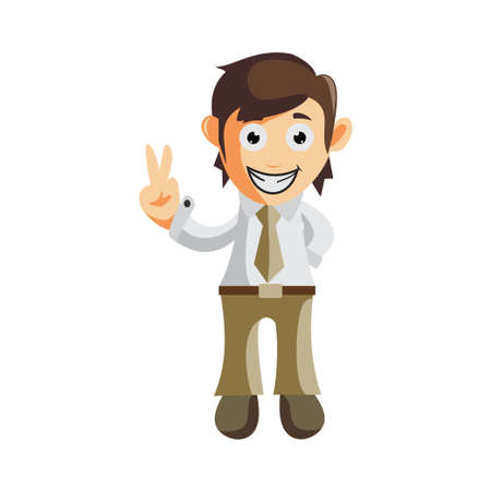 Business man Hand Peace cartoon character Illustration design creation Isolated