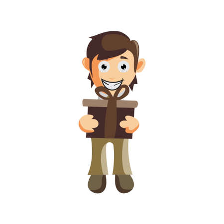 Business man Bring Gift cartoon character Illustration design creation Isolated
