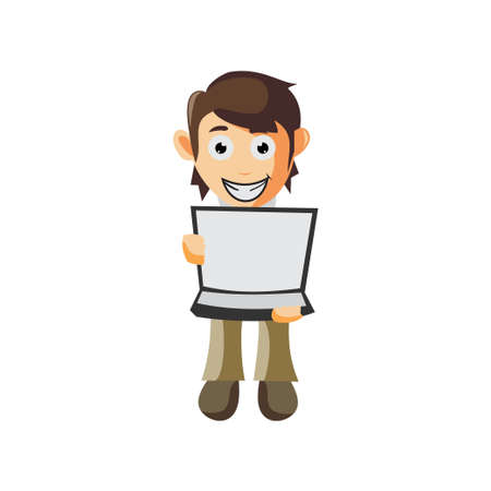 Business man With Open Laptop cartoon character Illustration design creation Isolated