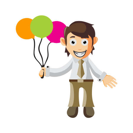 Business man Holding balloon cartoon character Illustration design creation Isolated