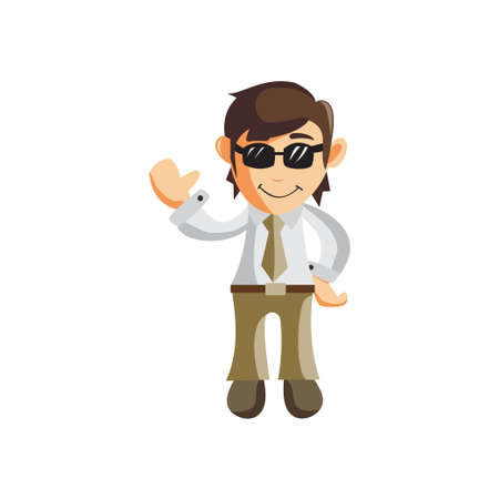 Business man Use Glasses cartoon character Illustration design creation Isolated