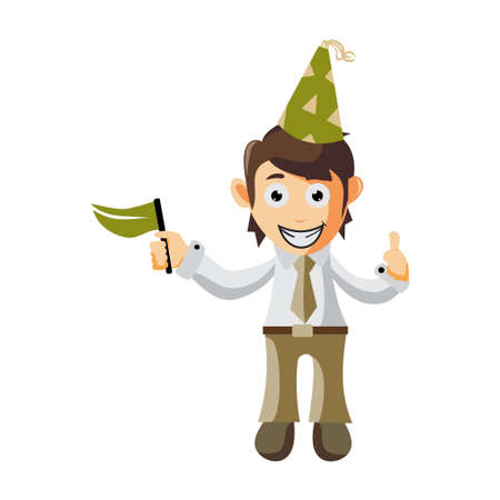 Business man Wear Hat Birthday and holding flag cartoon character Illustration design creation Isolated Ilustracja