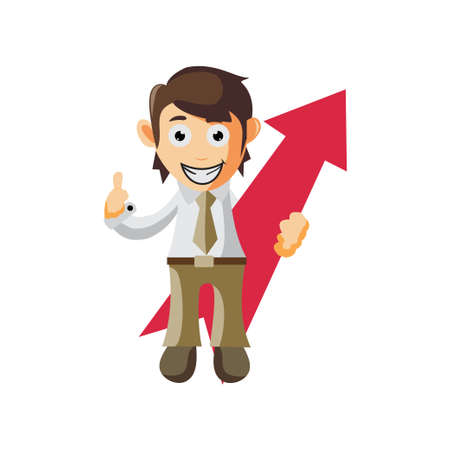 Business man Holding Arrow Up cartoon character Illustration design creation Isolated Ilustracja