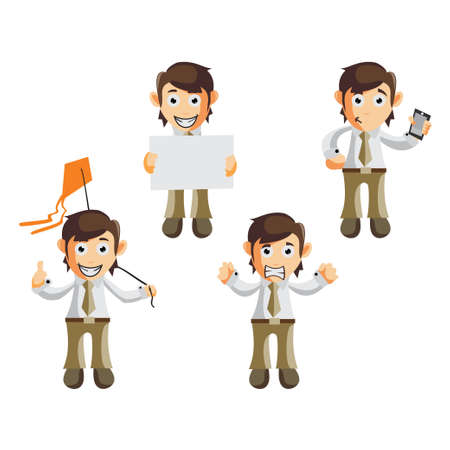 Business man cartoon character Illustration design creation Set with different gestures Ilustracja