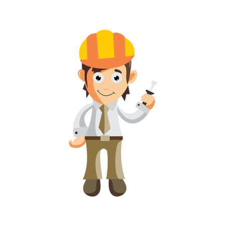 Business man Wear Helmet Construction and holding screwdriver cartoon character Illustration design creation Isolated