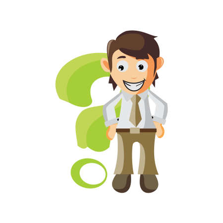 Business man With Question Sign cartoon character Illustration design creation Isolated