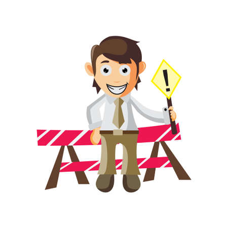 Business man Under Construction cartoon character Illustration design creation Isolated