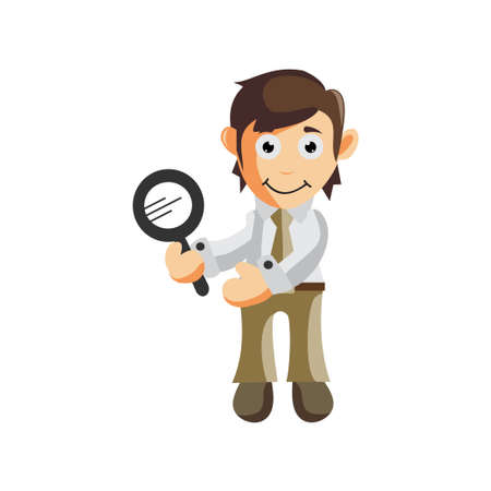 Business man Holding Magnifying cartoon character Illustration design creation Isolated