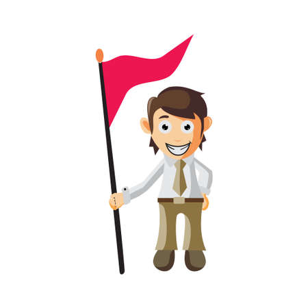 Business man Holding Flag cartoon character Illustration design creation Isolated