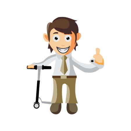 Business man with scooter cartoon character Illustration design creation Isolated