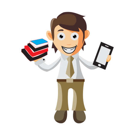 Business man Holding Book and Phone cartoon character Illustration design creation Isolated