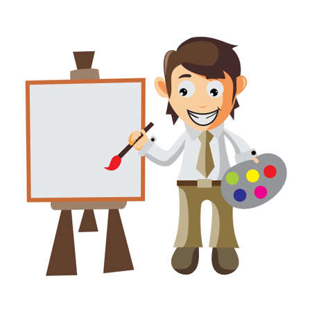 Business man Painting on Canvas with brush and pallet color cartoon character Illustration design creation Isolated