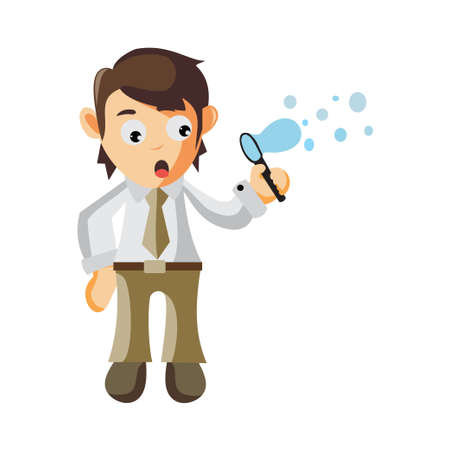 Business man play water bubbles cartoon character Illustration design creation Isolated