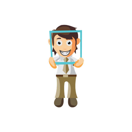 Business man Holding Frame cartoon character Illustration design creation Isolated