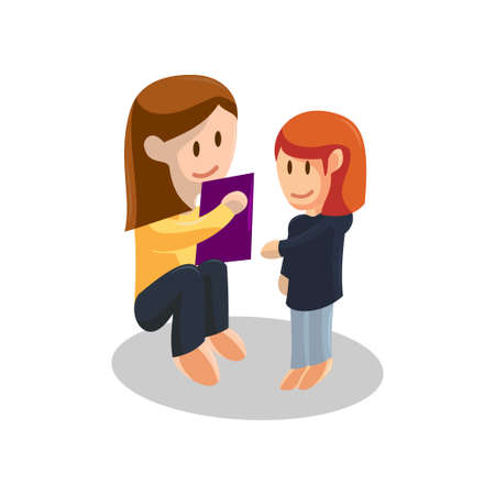 Young mother Reading Book and Daughter listening . Happy Mothers Day concept with mom and Daughter . Vector illustration Ilustracja