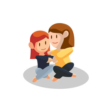 Young mother Huge Daughter . Happy Mothers Day concept  . Vector illustration