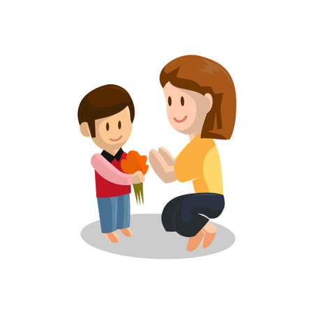 Son give Young mother Flower . Happy Mothers Day concept with mom and Son . Vector illustration Ilustracja