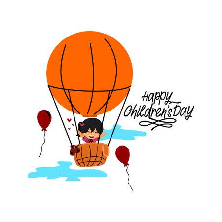 Cute Little Girl Ride a hot air balloon. Happy Children's Day