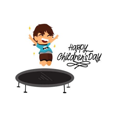 happy cute kid smile jump on trampoline . Happy Children Day