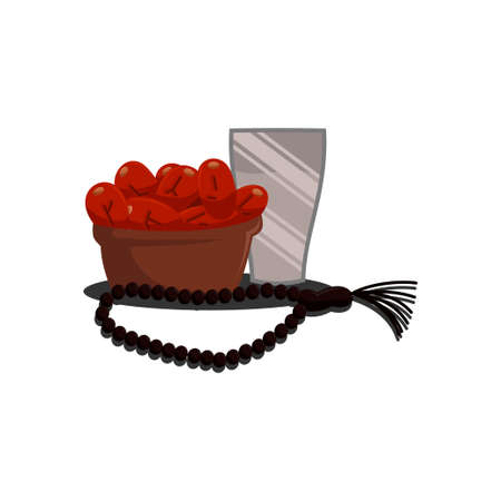 Ramadan Greetings dates fruits Popular During Ramadan or Fasting Month with cup water