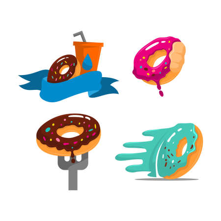 donuts with several variations  Set Color Draw Design Template illustration