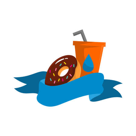 donuts and a glass of drinking water behind the ribbon Design Template illustration Isolated