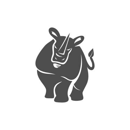 rhino vector  design mascot Isolated with modern illustration concept style for badge, emblem and t-shirt printing Ilustração