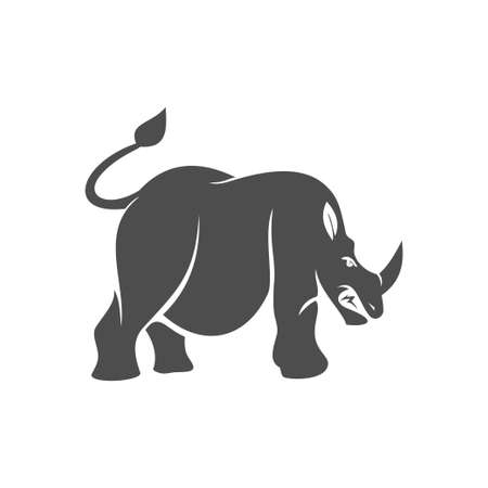 Rhino angry vector  design mascot Isolated with modern illustration concept style for badge, emblem and t-shirt printing