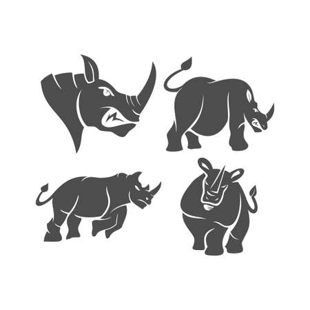 Rhino vector  design mascot Set with modern illustration concept style for badge, emblem and t-shirt printing