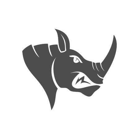 Rhino Head vector  design mascot Isolated with modern illustration concept style for badge, emblem and t-shirt printing Ilustração
